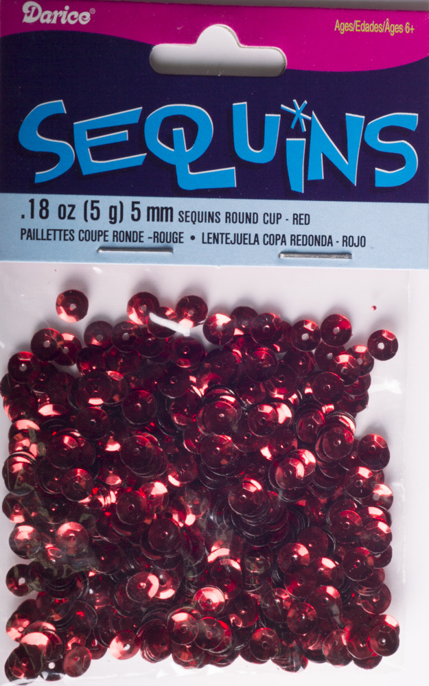 5mm Cup Sequins, 800 pack, Red