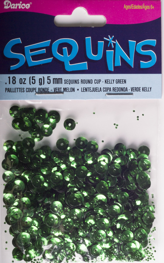 5mm Cup Sequins, 800 pack, Kelly Green