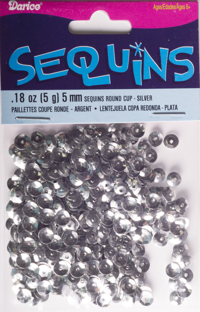 5mm Cup Sequins, 800 pack, Silver