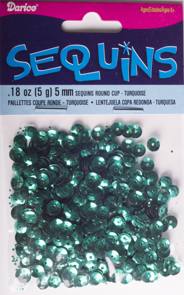5mm Cup Sequins, 800 pack, Turquoise