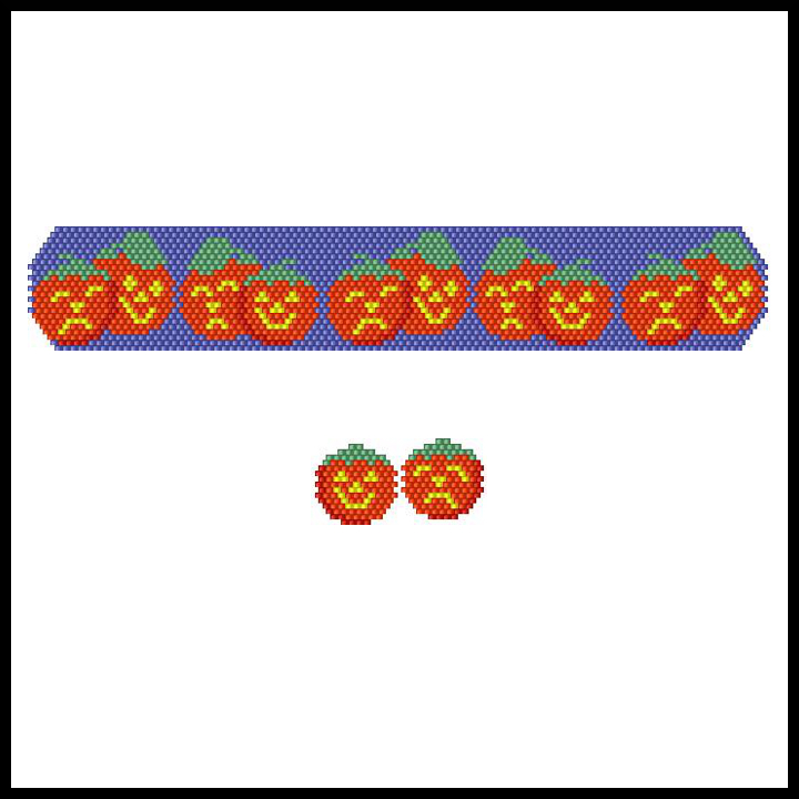 Theatrical Pumpkins Bracelet & Earrings