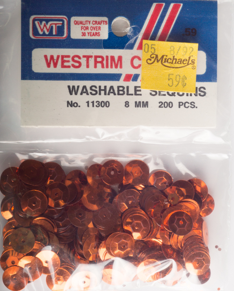 8mm Cup Sequins, 200 pack, Orange (Pre-Owned)