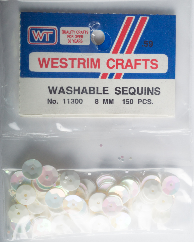 8mm Cup Sequins, 150 pack, White Iris (Pre-Owned)