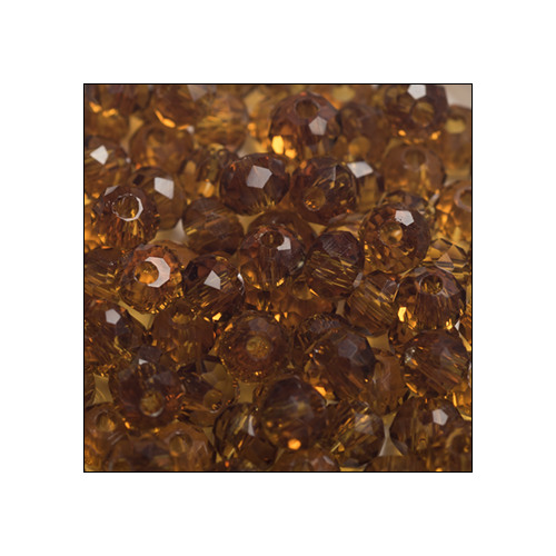 Crystal Rondelle, 3 x 4mm Dark Amber Transparent (100)