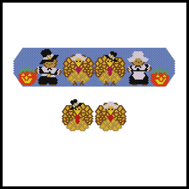 A Beary Happy Pilgrim Thanksgiving Bracelet & Earrings