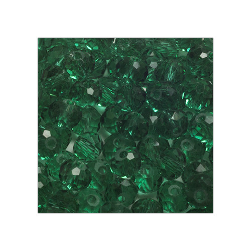 Crystal Rondelle, 3 x 4mm Emerald Green Trsp (100)