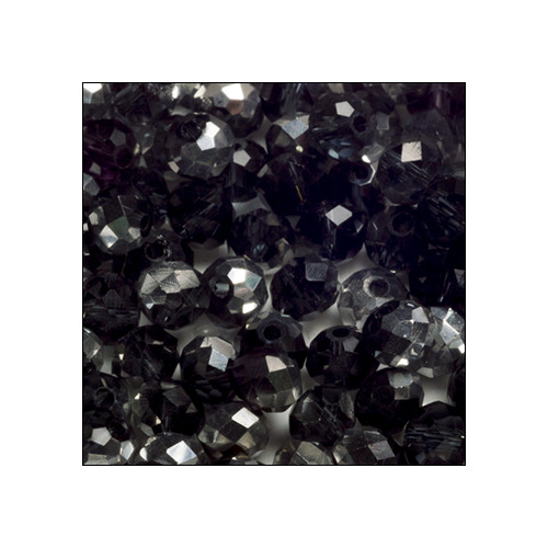 Crystal Rondelle, 3 x 4mm 2 Tone Antique Silver-Black (100)