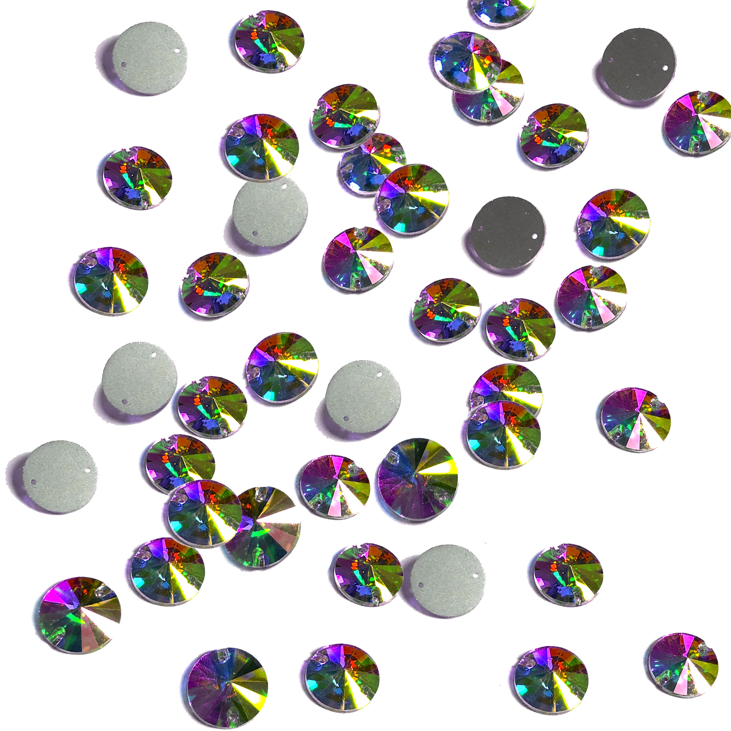 Rhinestone Flat Back Sew on 12mm Round Crystal AB (45)