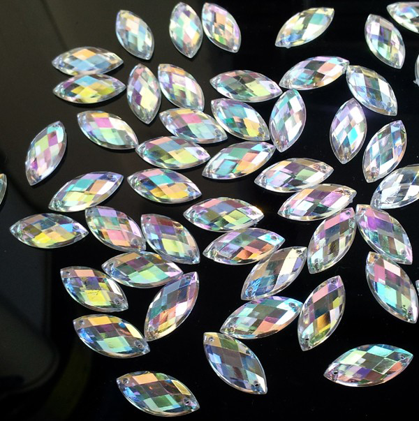 Premium Acrylic Sew on Rhinestone Flat Back 9x20mm Crystal AB(5)