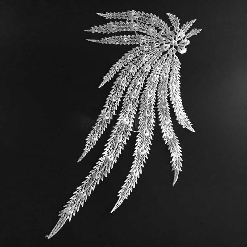 Peacock Lace Feather Applique Small, Ivory