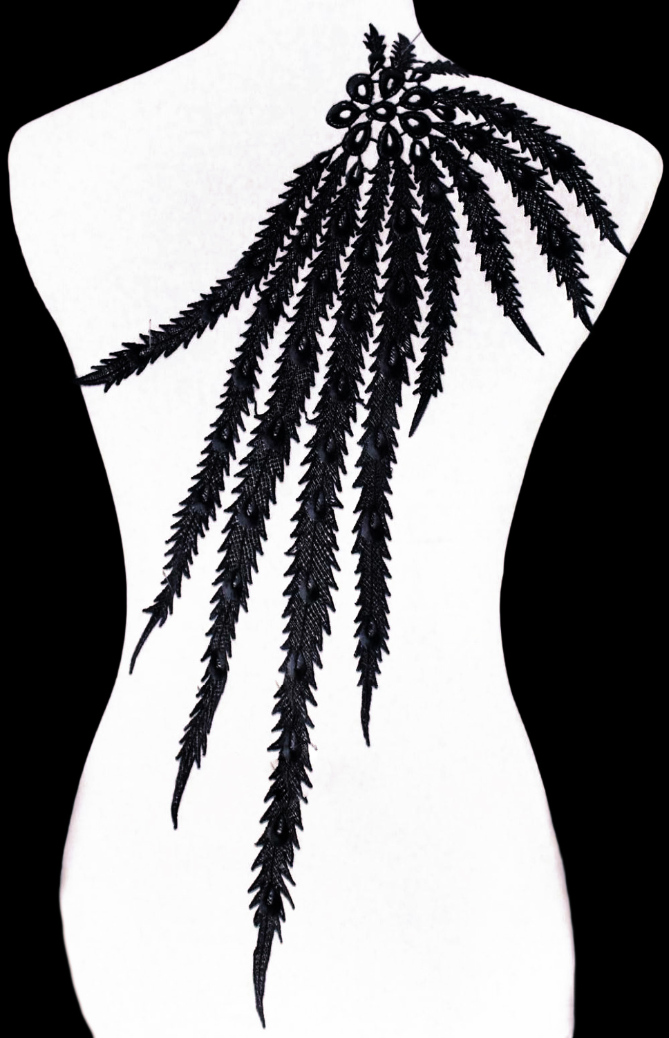 Peacock Lace Feather Applique, Black