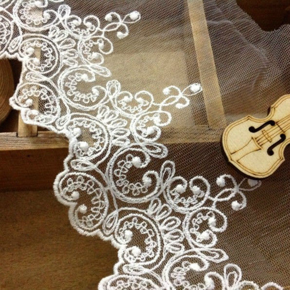 "Lace Netting 4"" wide Ivory 1 yard"