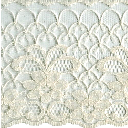 "Lace with Flowers 4"" wide Beige 1 yard"