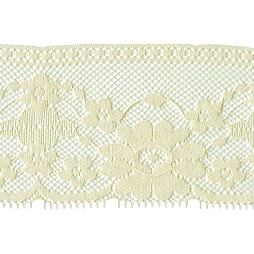 "Lace with Flowers 3-1/2"" wide Cream 1 yard"