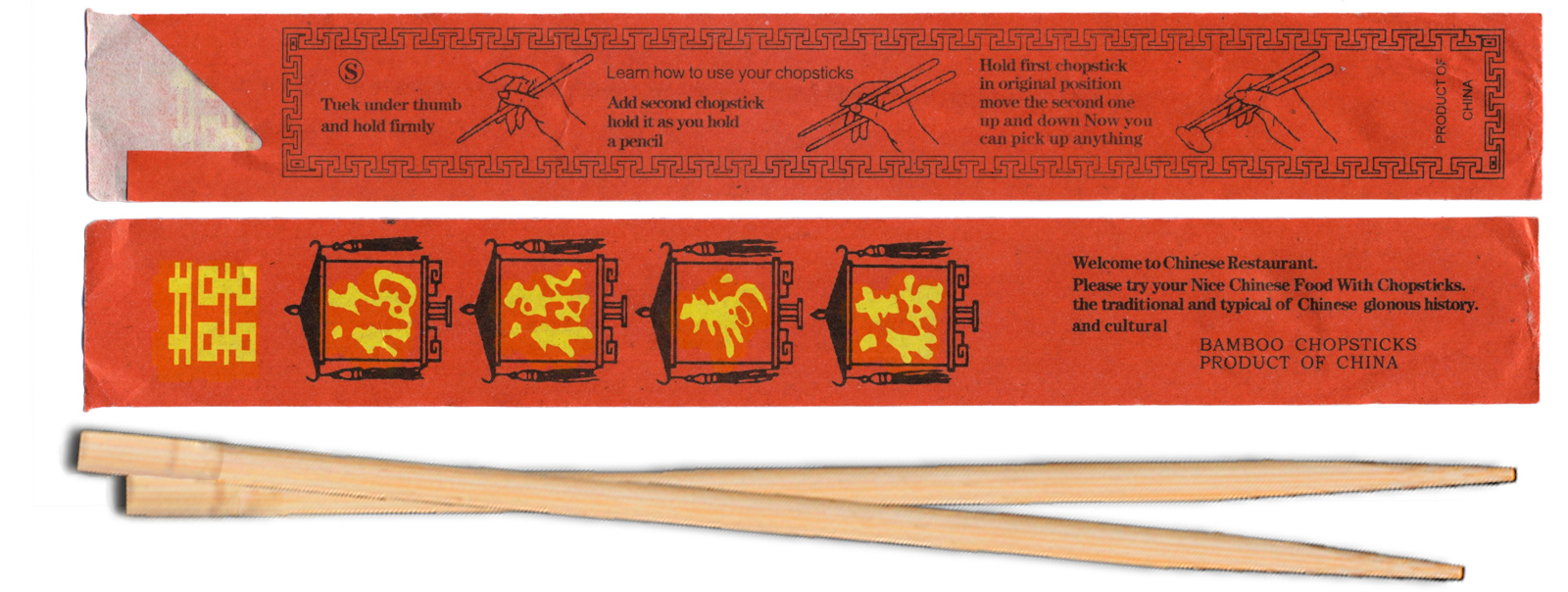 Bamboo Chop Sticks with Red Paper Wrapper, 4 Sets