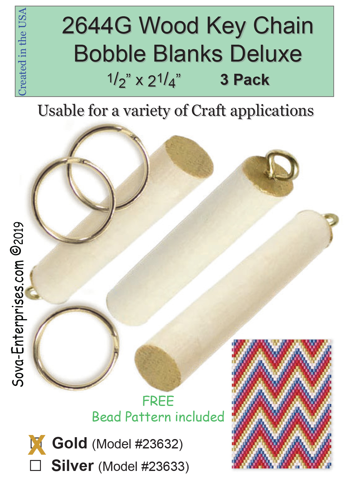 "Wood Key Chain Bobble Blanks Gold 1/2"" Deluxe 3 Pack 2644GD"