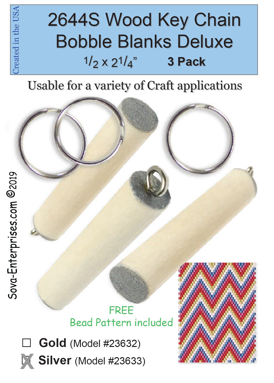 2044S Wood Key Chain Bobble Blanks Silver 3 Pack