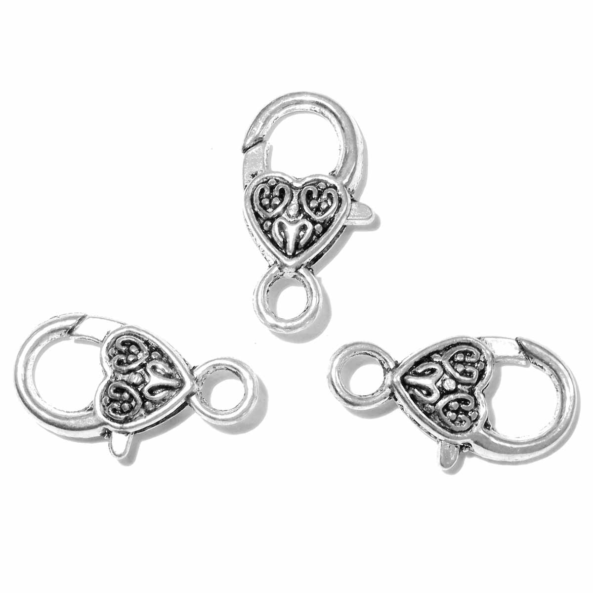 Heart Lobster Clasp 26x14mm Antique Silver 3pcs