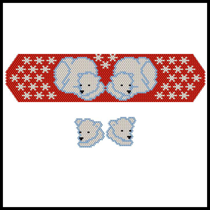 Xmas Polar Bears Bracelet & Earrings