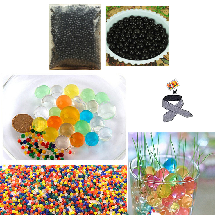 Water Beads, Craft-Home Decor-Cooling, 5 grams Dry, Black