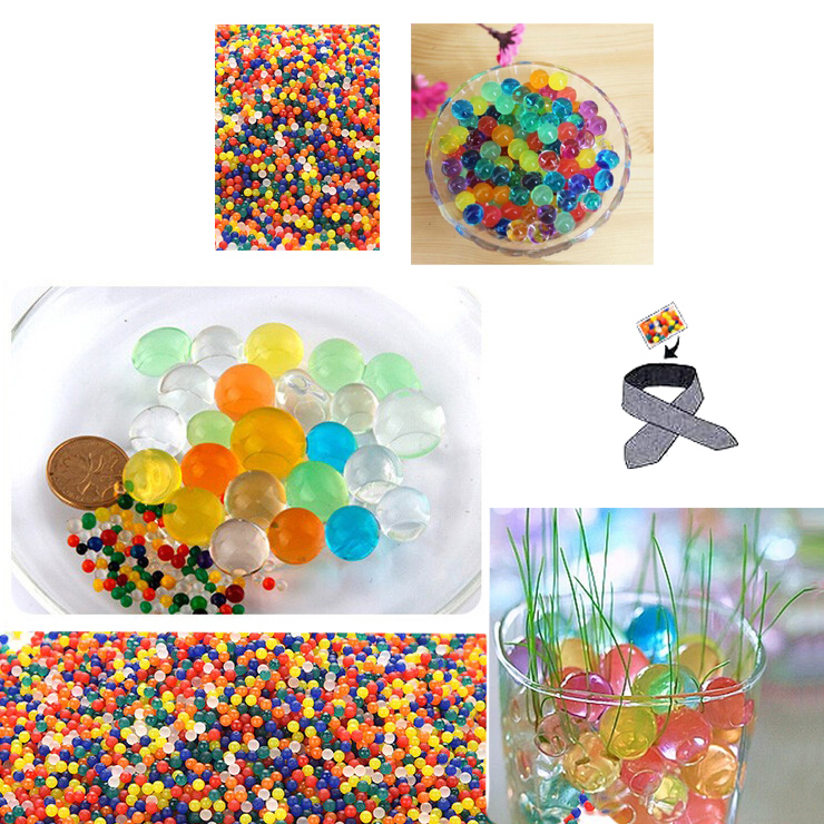 Water Beads TINY, Craft-Home Decor-Cooling, 5 grams Dry, Mixed