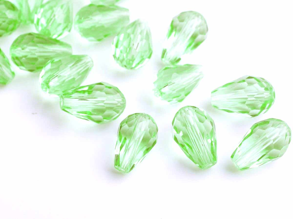 Crystal Teardrop (Pear), 12 x 8mm, Light Green (12)
