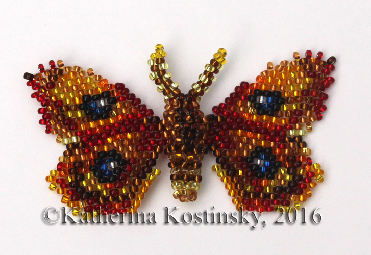 Aglia tau moth Peyote stitch