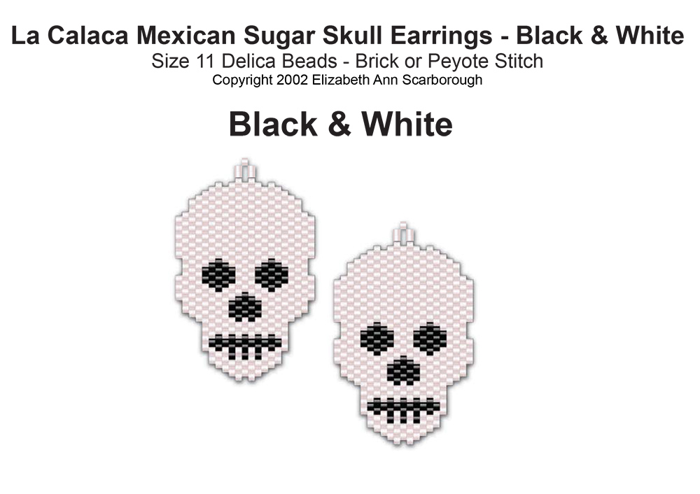 La Calaca Mexican Sugar Skull Earrings- Black & White