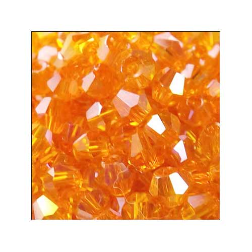Crystal Bicone, 4mm Tangerine Orange AB (100)
