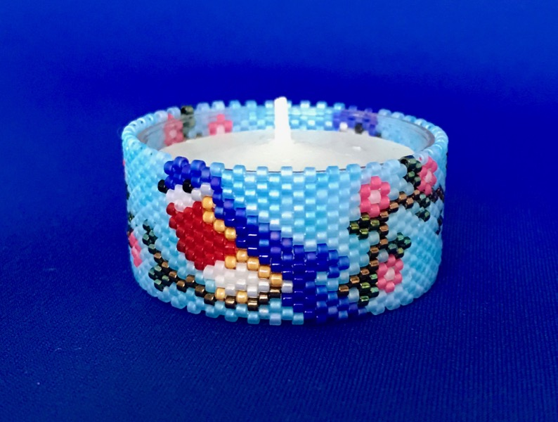 Bluebird Tea Light Cover / Napkin Ring