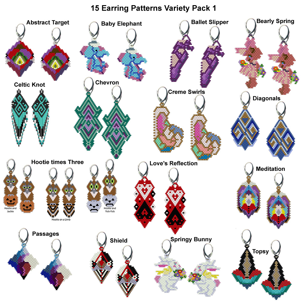 15 Earring Patterns Variety Pack 1