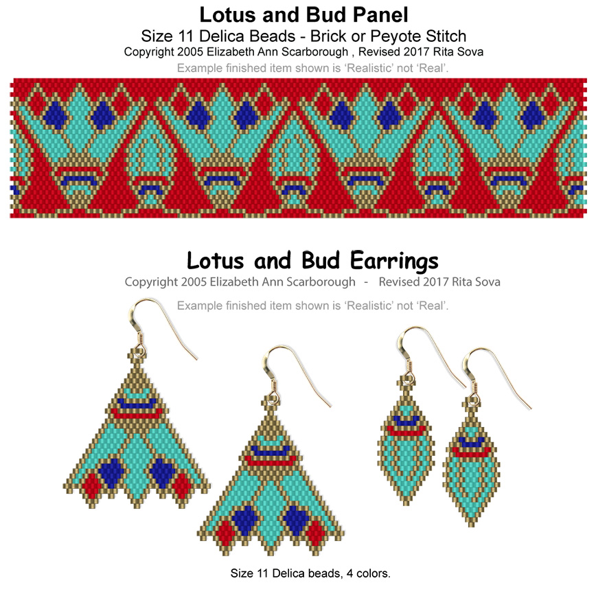 Lotus and Bud Panel with Earrings