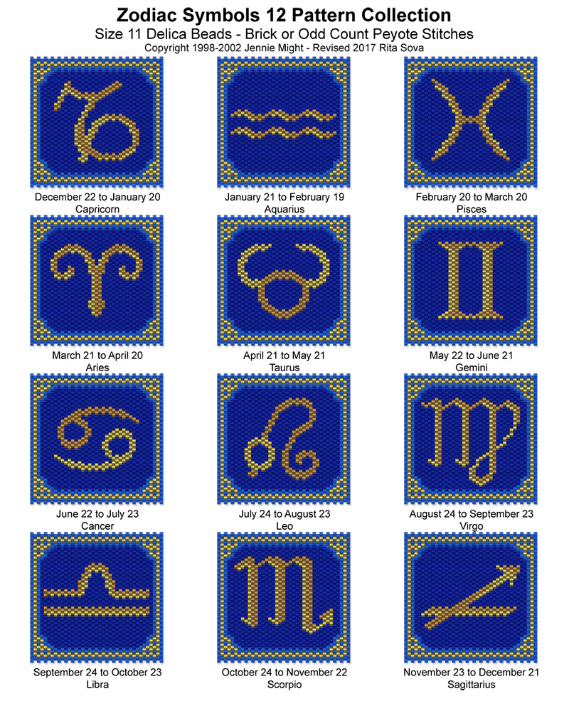 Zodiac Symbols 12 Pattern Collection