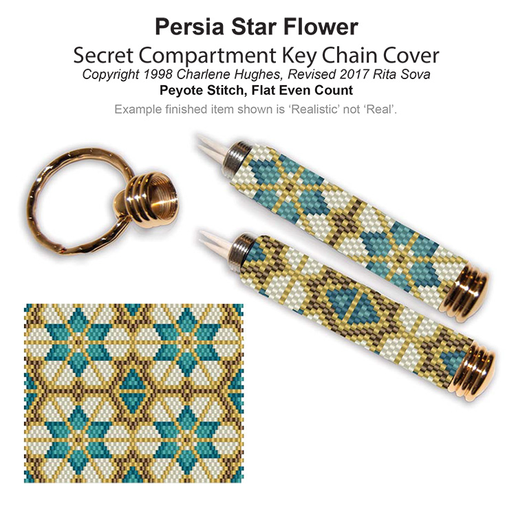 Persia Star Flower Secret Compartment Key Chain Cover
