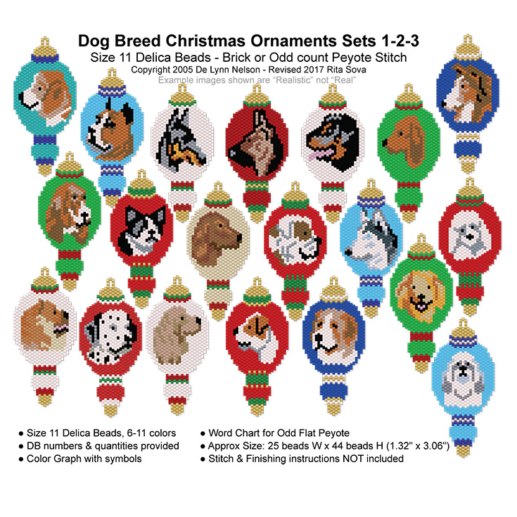 Dog Breed Christmas Ornament Sets 1-2-3