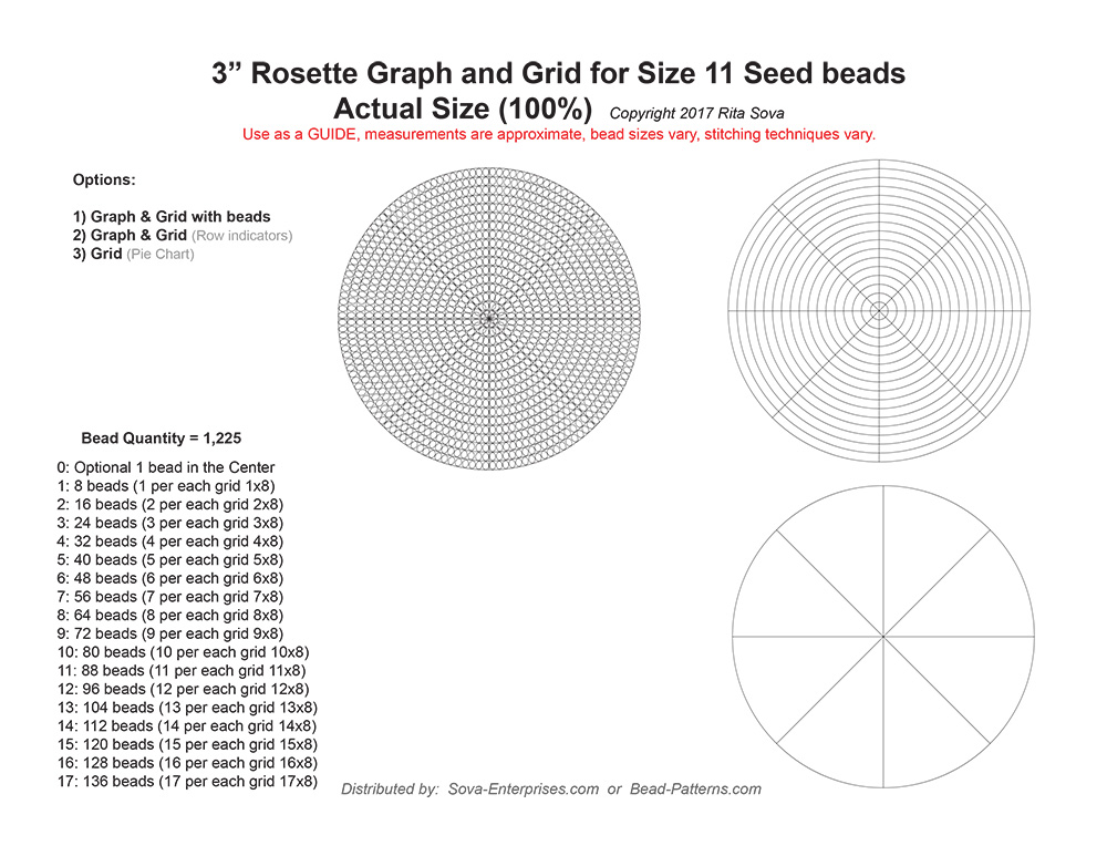 "3"" Rosette Graph & Grid for Size 11 Seed Beads"