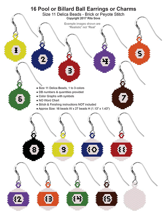 16 Pool or Billiard Ball Earrings or Charms