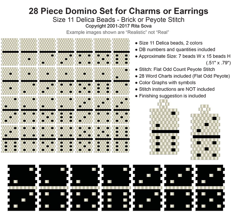 28 Piece Domino Set (Peyote) Earrings or Charms