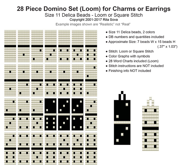 28 Piece Domino Set (Loom) Earrings or Charms