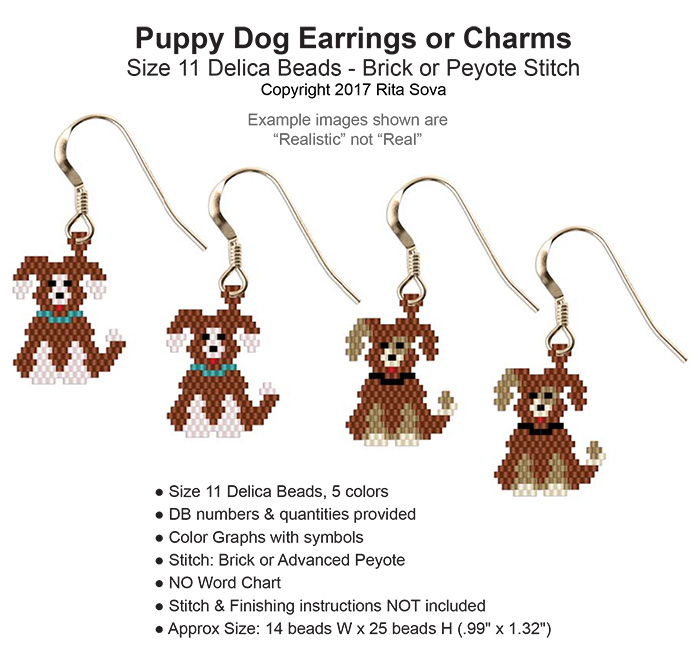 Puppy Dog Earrings or Charms