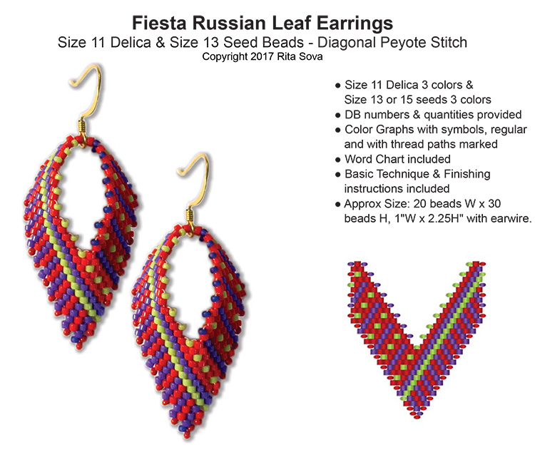 Fiesta Russian Leaf Earrings