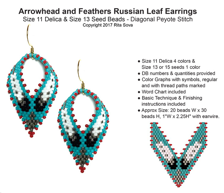 Arrowhead and Feathers Russian Leaf Earrings