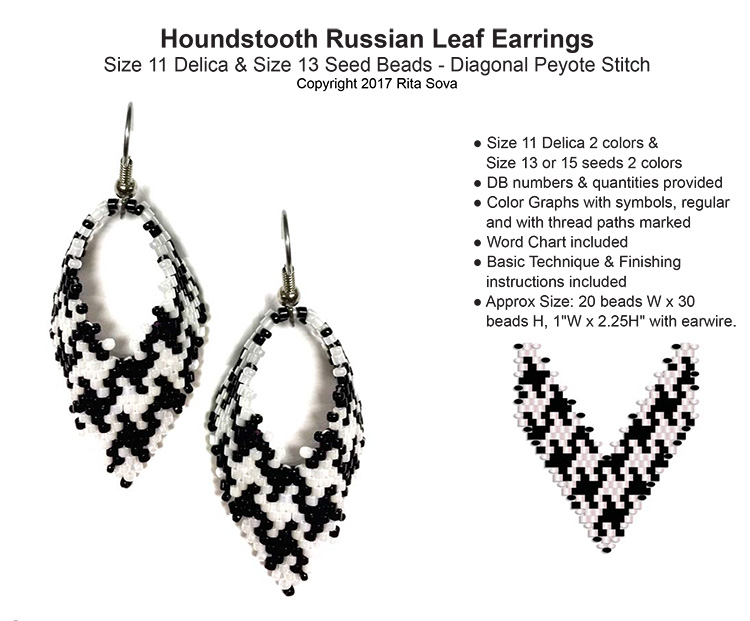 Houndstooth Russian Leaf Earrings