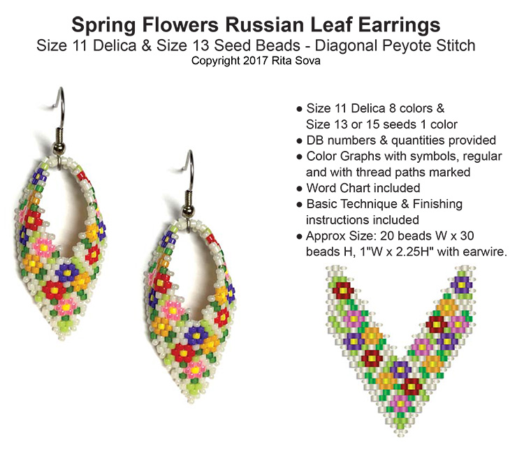 Spring Flowers Russian Leaf Earrings
