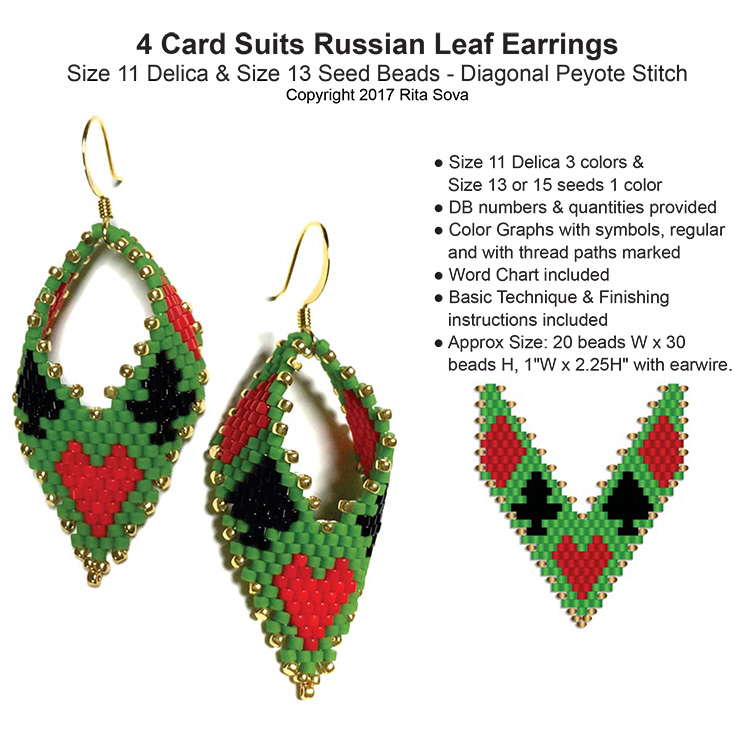 4 Card Suits Russian Leaf Earrings