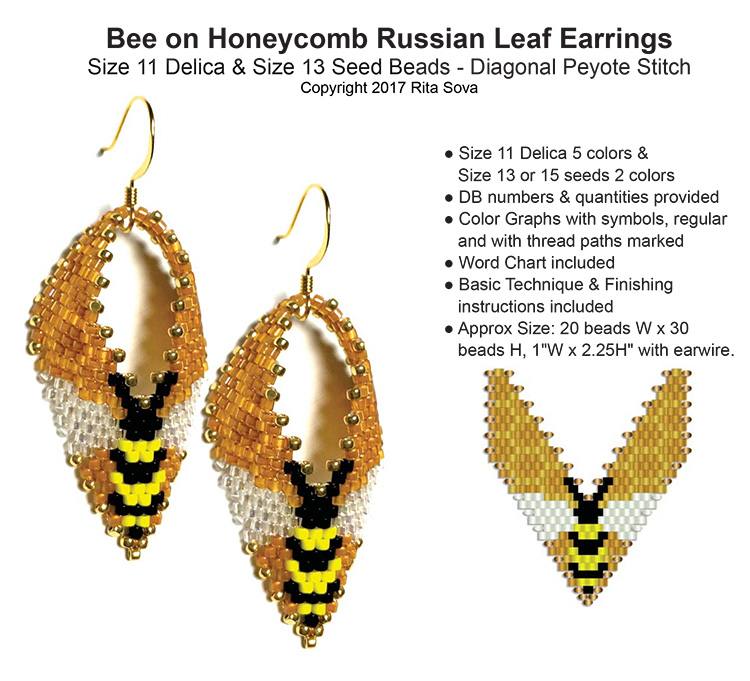 Bee on Honeycomb Russian Leaf Earrings