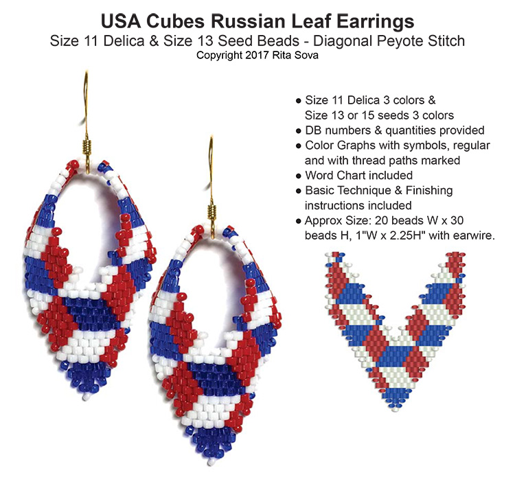 USA Cubes Russian Leaf Earrings