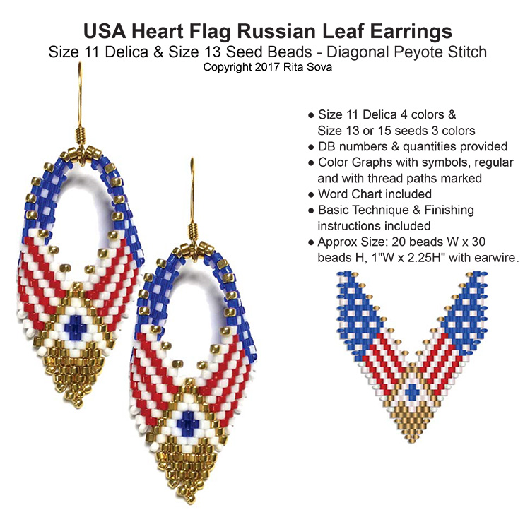 USA Heart Flag Russian Leaf Earrings
