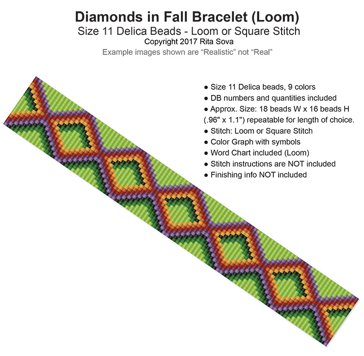 Diamonds in Fall Bracelet (Loom)