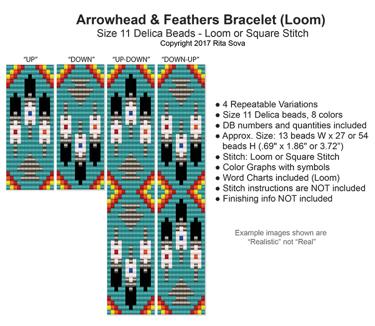 Arrowhead and Feathers Bracelet (Loom)
